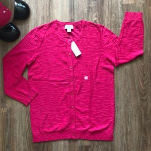 LOFT Pink Button Down Cardigan Size Small NWT
